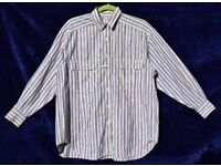 "St Michael Ladies or Men's Blue & Red Stripy Working Long Sleeve Shirt C46""-50"" & N14 ½"""