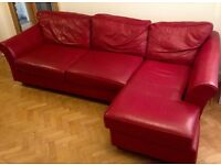 MARKS AND SPENCERS ABBEY 3 SEATER RED LEATHER CORNER SOFA / CHAISE VGC . MOVING HOUSE . RRP £2999