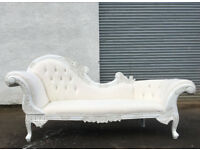 Very large white 230cm long curved chaise lounge sofa|couch|settee DELIVERY AVAILABLE