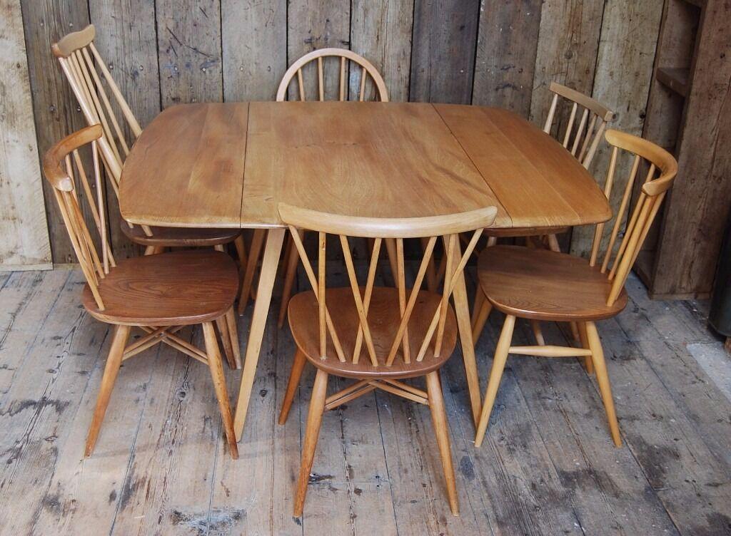 Ercol Square Drop Leaf Table 2 Light Elm Mid Century Mod Vintage Retro England