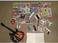 Nintendo Wii Console + Guitar + Balance board + Controllers + games MEGA Bundle