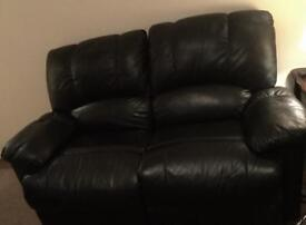 Recliner Black Leather Sofa