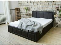 KING SIZE LEATHER BED WITH STORAGE