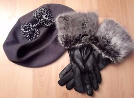 WINTER FAUX FUR AND LEATHER GLOVES WITH BERET HAT