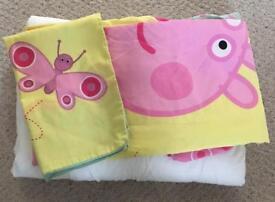 Peppa pig duvet set and John Lewis cot bed duvet - children's