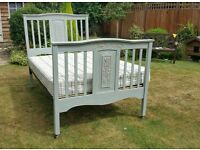 Gorgeous Shabby chic bed, finished in Annie Sloan Paris Grey and waxed