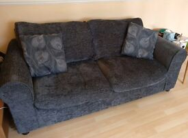 2 Seater / Compact 3 Seater Fabric Sofa - Charcoal - Used