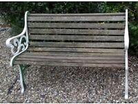 GARDEN BENCH SEAT - CAST IRON ENDS - WOODEN SLATS - CHAIR WOOD
