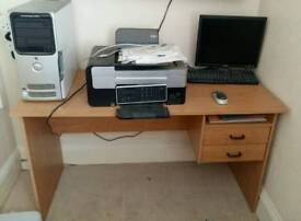 Dell 5150 pc with monitor, keyboard, mouse, desk and printer