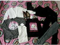 Bundle of Girls Clothes 9-10-11 River Island H&M Emoji and Shoes 2