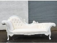 Very large white 230cm long curved chaise lounge sofa couch settee DELIVERY AVAILABLE