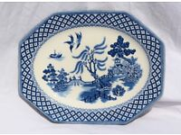 Royal Staffordshire Willow Pattern Decorative Octagonal Plate