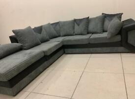 Ex Display Grey & Black Fabric Corner Sofa Can Deliver Anywhere Same Day