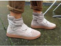 ZARA High Top trainers UK 7 sneakers EU 41 Grey Hi leather Yeezy Rick Owens suede 8 beige gum new