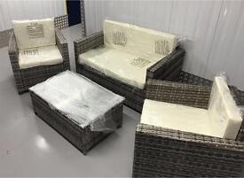 4 Piece grey and cream Rattan set with glass top table *deal of the week*