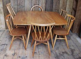 Ercol square drop-leaf table #2 light elm mid century mod vintage retro England Brighton gplanera