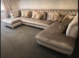 Corner sofa, crushed velvet