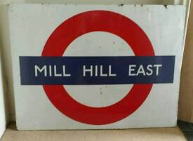 London Underground Ltd. Mill Hill East station original c.1960s large enamel platform sign