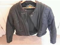 Mens leather motorcycle motorbike jacket 44inch