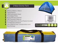 NEW Yellowstone 2 Person Dome Tents with Built in PE Groundsheet NEW RRP £24.99 For Festivals Beach