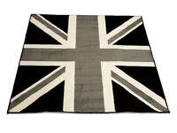 Rug - Black/White Union Jack GB Flag 120 x 170 cm