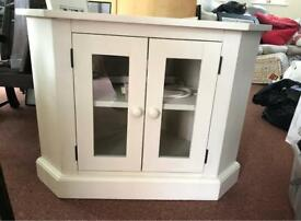 TV Corner cabinet, cream hand painted unit, good condition