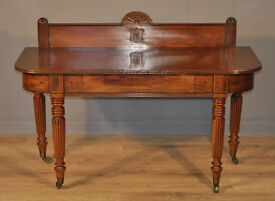 Attractive Large Antique Victorian Inlaid Mahogany Hall Side Table With Drawer