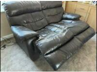 Dark Brown 2 Seater Sofa with electric recline