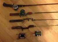 FISHING RODS WITH REELS, LOOSE REELS & TACKLE