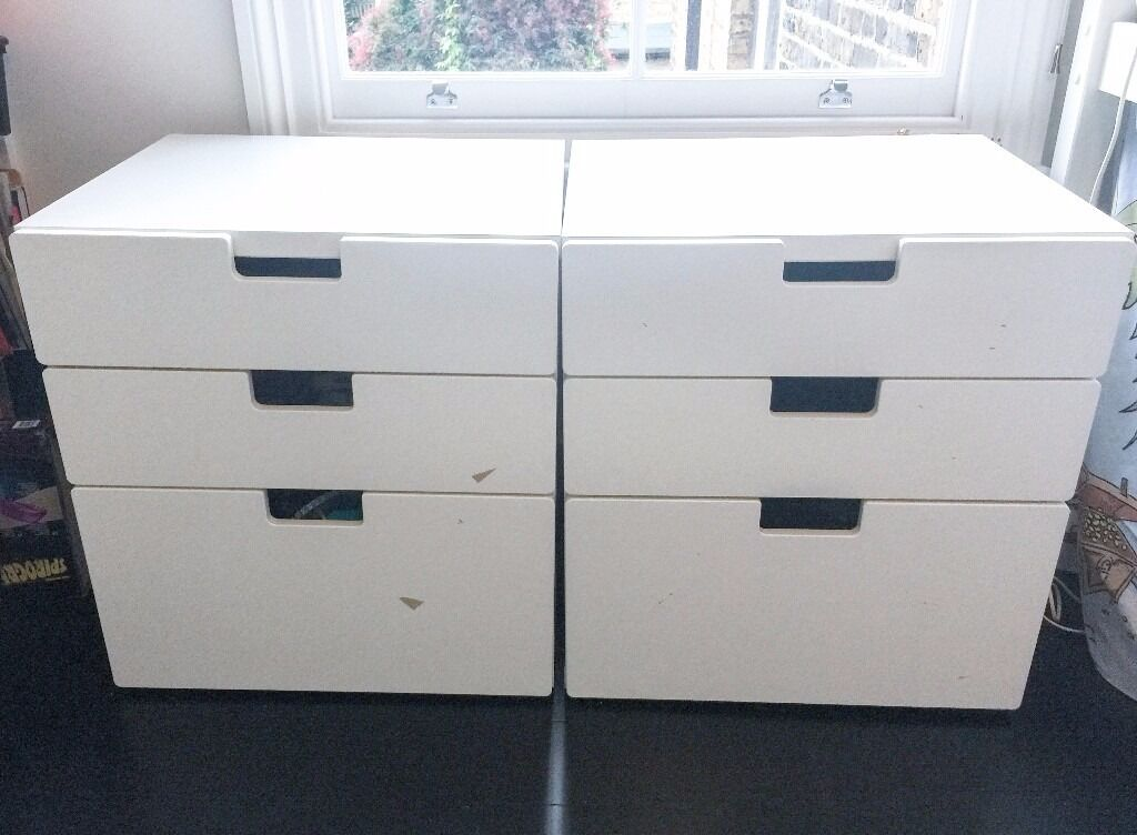 Ikea stuva white drawers set of two in chelsea