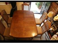 Dining table extendable wood with six chairs