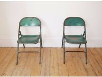 Pair of Vintage Industrial Shabby Chic Mid-Century Green Dining Folding Metal Chairs