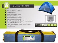 NEW Yellowstone 2 Person Dome Tents with Built in PE Groundsheet NEW RRP £24.99 ONLY 7 Available