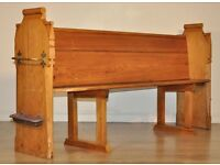 Attractive Antique Victorian Large 6.5ft Solid Pine Rustic Church Pew Hall Bench