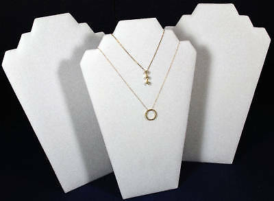 3 White Leather Pendant Necklace Easel Back Jewelry Counter-top Display Stand