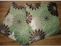 4 green/brown floral cushions