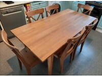Ikea Ingolf dining table & 6 chairs