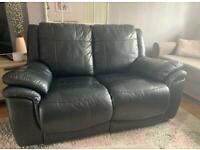 Black faux leather, 2 seater sofa FREE