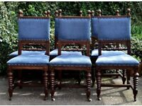 Set of 6 Antique Victorian restored dining room chairs