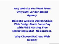 Any Website in the world for only £105 Made Same Day with hosting & SEO by Skycloud
