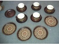 Vintage Retro Denby Arabesque Stoneware Set of 5 cups, 6 saucers & 4 side plates - VGC
