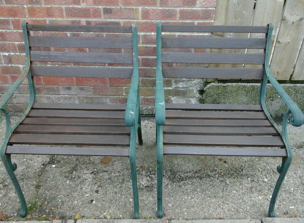 2 cast iron garden chairs in driffield east yorkshire for Garden decking gumtree