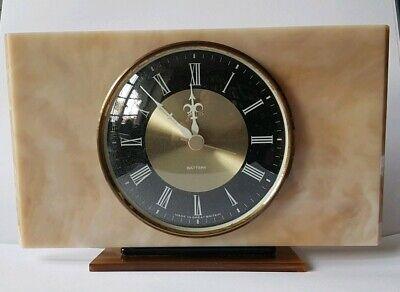 retro mid century smiths faux marble perspex plastic mantle clock