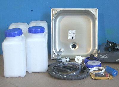 Spule Wasserkocher (Miniküche Campingspüle Bausatz (3.2-Hg) für Wasserhahn Gaskocher Bright Spark)