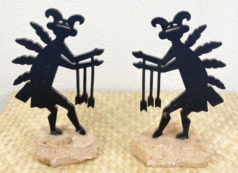 "Vintage Kokopelli Silhouette Statue Decor Bookend Pair 10"" Metal Stone Base USA"