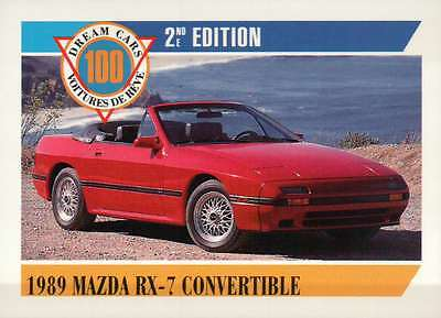 1989 Mazda RX-7 Convertible, Dream Cars Trading Card, Automobile - Not Postcard