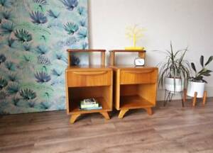 Pair of Mid Century 1960's Retro Vintage Bedside Side Tables