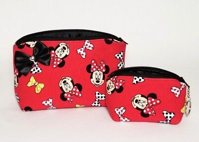 Minnie Mouse makeup bag coin purse keychain. Gift set. Bow. Red. Brush holder  Bow Cosmetic Bag Handbag