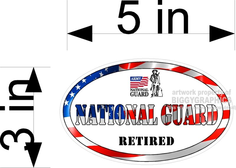 NATIONAL GUARD  VINYL CAR TRUCK WALL  DECAL RETIRED