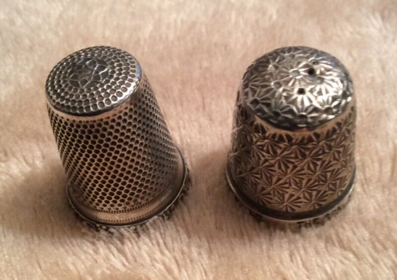 2 Silver Vintage Decorative Thimbles - One German 925 and One Sterling Silver